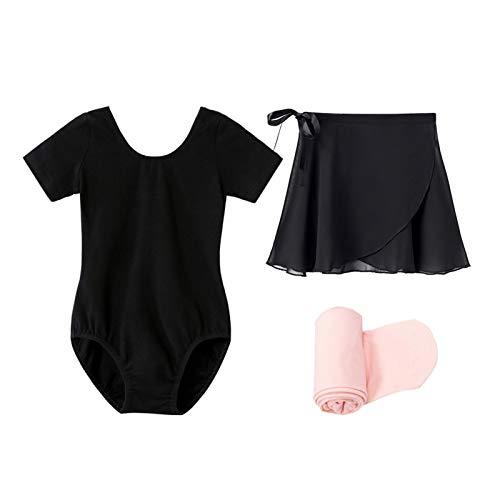 STELLE Short Sleeve Ballet Leotard Combo with Dance Skirt and Dance Tight (Black, 100)