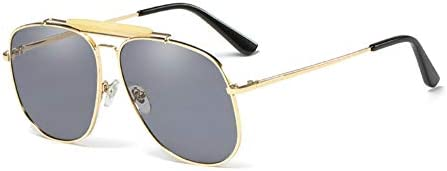 Unisex Large Designer Aviator Sunglasses Double Bridge Gold Metal Square Glasses Classic Gold product image