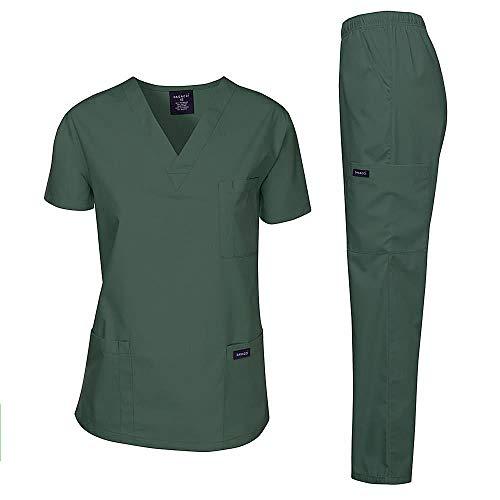 Dagacci Medical Uniform Women's Medical Scrub Set Top and Pant, Hunter Green, L