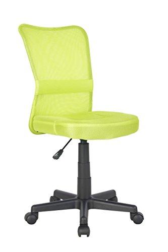 SixBros. Bürostuhl,Schreibtischstuhl, Drehstuhl für's Büro oder Kinderzimmer, stufenlos höhenverstellbar, Schreibtischstuhl für Kinder aus Stoff, grün, H-298F/2066