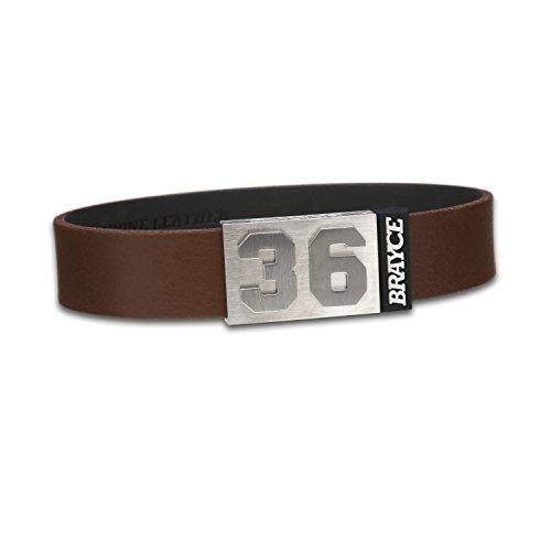 BRAYCE® Lederarmband mit Deiner Nummer 00-99 in braun I personalisierbarer Schmuck für Herren & Damen – das Trend Armband aus Echtleder, handgemacht in Deutschland