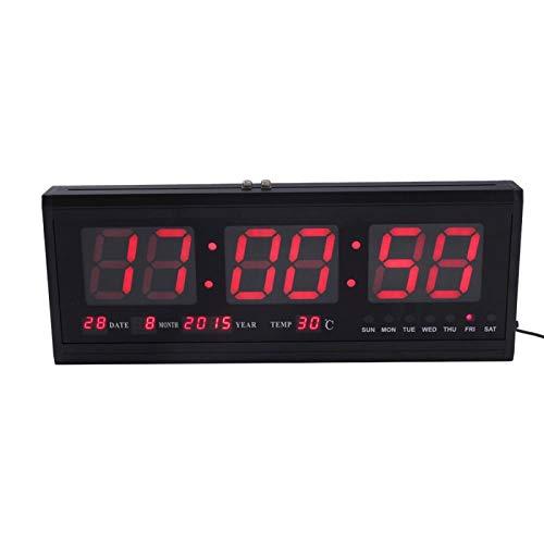 Haofy Reloj de Pared Digital, LED Calendario de Tiempo Temperatura Escritorio Relojes de Mesa Suministros para el hogar Enchufe de la UE 110-240V