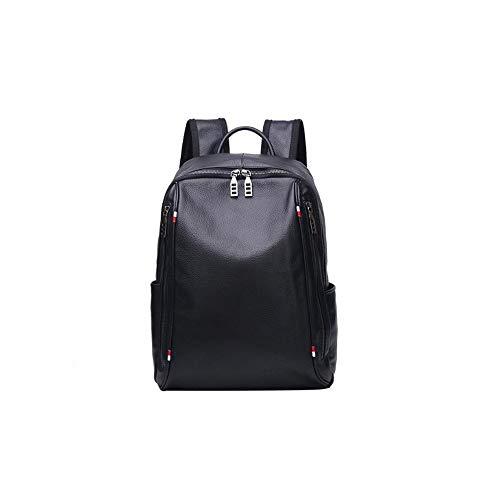 UICICI Leder Herren Rucksack Top Layer Rindsleder Outdoor Bergsteigen Tasche (Farbe : Schwarz)