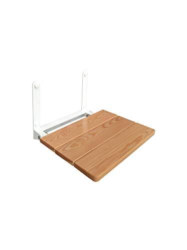 Castelmerlino Asiento de ducha plegable con asiento de alerce macizo TUV GS Certificado - Capacidad CE 110 Kg