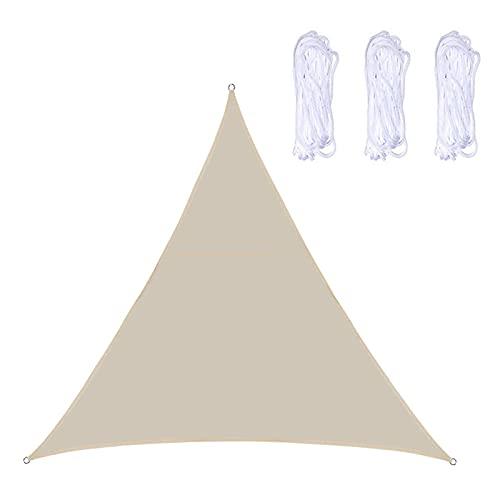 JLCP Vela De Sombra Triangulares,3 Cuerdas,Impermeable,Protección Rayos UV,Jardín Terraza Patio Playa Camping Toldo Vela De Sombra,Blanco Crema,6x6x6m