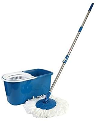 G. Gala Bucket Mop with 2 Refills- Super Absorbent Refills for All Type of Floors, 360 Degree Spin Bucket, 180 Degree Bendable Handle, for Perfect Cleaning (Color May Vary)