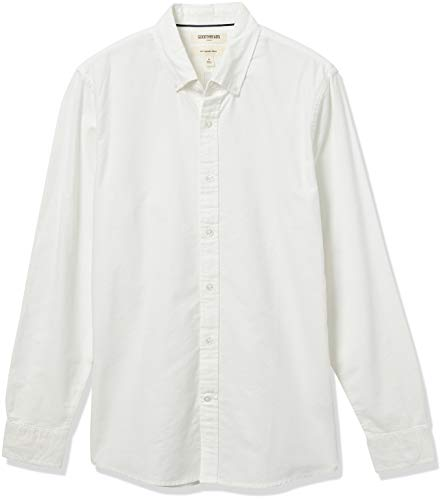 Goodthreads Slim-Fit Long-Sleeve Solid Oxford Shirt camisa, Blanco (White), Small