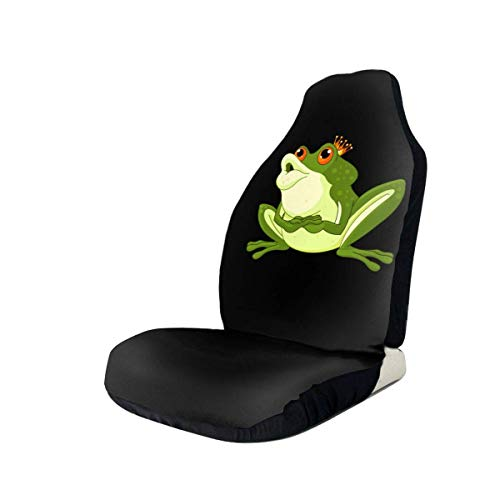 Drew Tours Art Design Green Prince Frog with Crown Universal Car Seat Covers Front Seats Protectors for Car,Truck And SUV