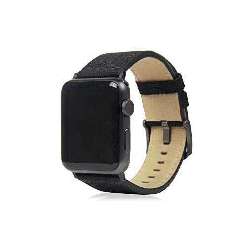 SLG Design Apple Watch 42mm 44mm用 バンド キャンバス地 本革 Wax Canvas ブラック