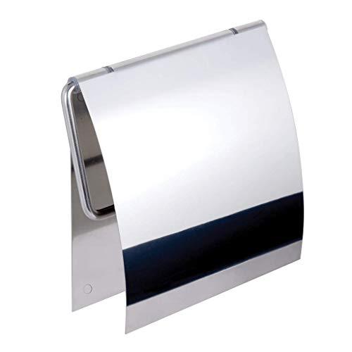 Kapitan 3M Selbstklebend WC Papierhalter mit Deckel Toilettenpapierhalter, V2A 18/10 Edelstahl (AISI 304 18/10), Wandmontage, Poliert, Made in der EU, 20 Jahre Garantie