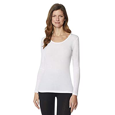 32 DEGREES Women's Heat Plus Baselayer Lounge Comfy Active Wicking Scoop Top, White, Large