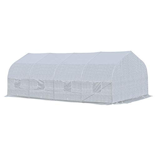 Outsunny 20' x 10' x 7' Deluxe High Tunnel Walk-in Garden Greenhouse Kit - White