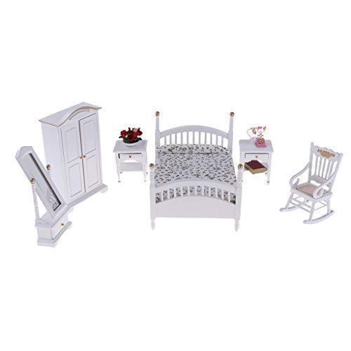 Fenteer 6pcs 1:12 Puppenhaus Miniaturmöbel Schlafzimmer Zubehör Set, Inkl. Mini Bett, Kleiderschrank, Schminkspiegel, Nachttisch und Sessel Möbel Set - C