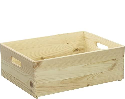 LAUBLUST Große Holzkiste mit Griffen - ca. 40x30x14cm, Natur | Stapelbare Allzweckkiste aus Holz - Aufbewahrungskiste | Geschenkverpackung | Dekokiste zum Basteln | Küchenbox | Spielzeugkiste