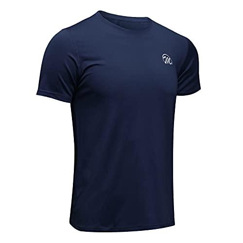 MEETWEE Men's Sport T-Shirt, Breathable Cool Dry Mesh Base Layer Tops Short Sleeve Running Top Gym Shirt (Navy Blue, XL)