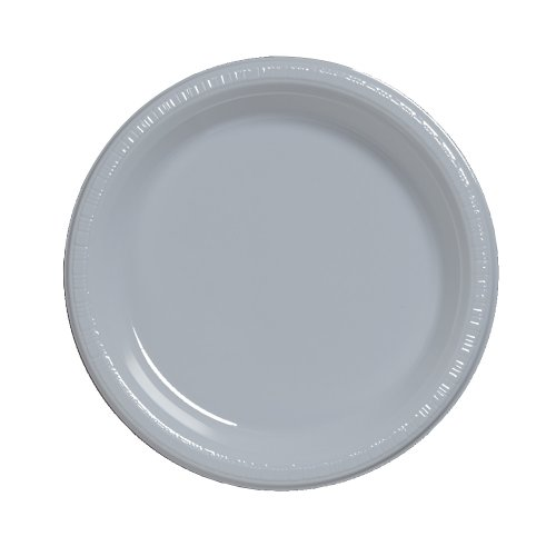 Creative Converting Touch of Color 20 Count Plastic Lunch Plates, Shimmering Silver