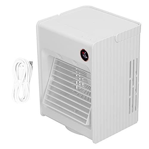 Hztyyier Ventilador de humidificación de Spray oscilante 2 en 1 con Carga USB Ligera Ventilador de enfriamiento de Aire de Escritorio de 4000mAh para el hogar(Blanco)