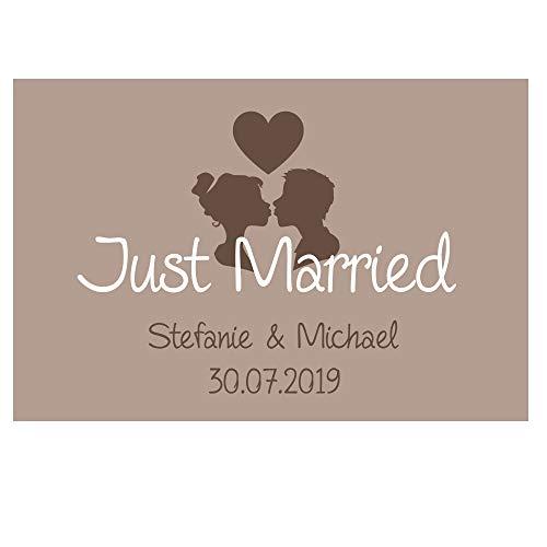 4you Design XXL Fußmatte Just Married mit Namen und Hochzeitsdatum, Fußabtreter, Hochzeitsgeschenk, Geschenkidee, Wedding, Hochzeit, Liebe, 70x50 cm (braun)