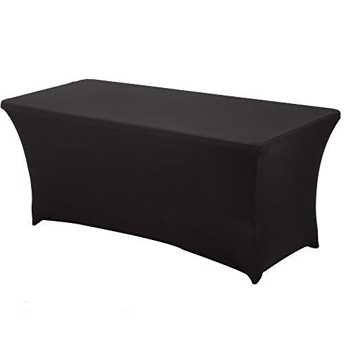 HAORUI Spandex Stretch Lycra Table de 122cm Couverture de Tissu rectangulaire Table à chevalets Banquet de Mariage(122×76×76cm Noir)