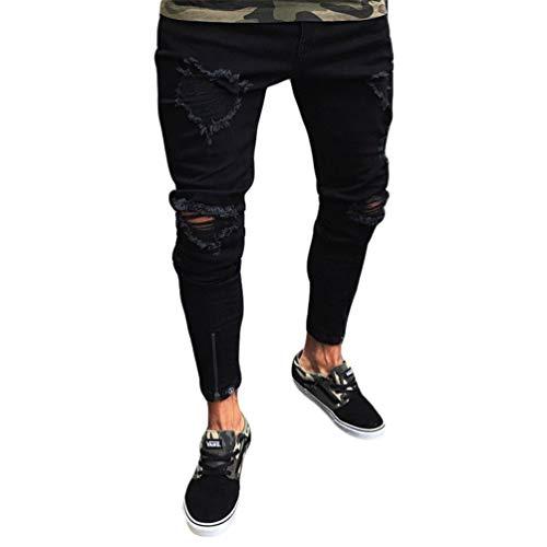 WanYangg Pantalones Vaqueros Hombres Rotos Skinny Rodilla Ripped Pantalones, Masculinos Casuales Elasticos Agujero Slim Fit Desgarrados Denim Pantalón Jeans con Decoración De Cremallera Negro L