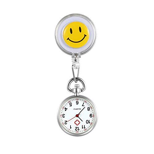 LANCARDO Uhren, Krankenschwester Armbanduhr FOB-Uhr Damen Lächeln Digitale Analog Revers Stretch Taschenuhr (Weiss)