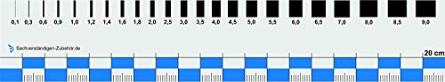 Sachverständigen-Zubehör Rissbreitenlineal FLEXIBEL | 20 cm | Dokumentationshilfe | praktisches Risslineal | Karte Fotodokumentation | Wertgutachten | Lineal für Kfz Wertermittler | Gutachter