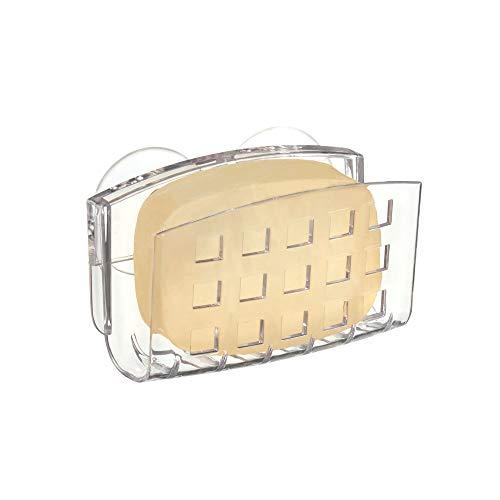 InterDesign Basic Jabonera con ventosa, porta esponjas y estropajos fabricado en plástico, transparente