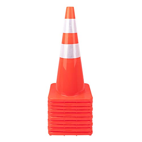 """[ 10 Pack ] 28"""" Traffic Cones Plastic Road Cone PVC Safety Road Parking Cones Weighted Hazard Cones Construction Cones for Traffic Fluorescent Orange w/4"""" w/6"""" Reflective Strips Collar (10)"""