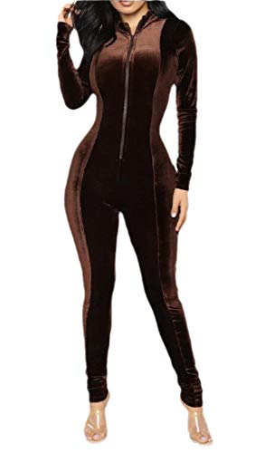 securiuu Womens Velvet Zipper Front Long Sleeve Bodycon Pants Jumpsuits Rompers Brown XS