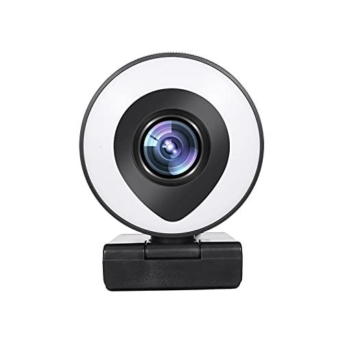 Decdeal 1080P Webcam mit Mikrofon und Ringlicht Full HD Kamera USB Plug & Play Facecam für PC, Videochat, Laptop, Zoom, Skype (Weiß/Warmes Licht)