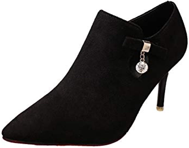HOESCZS Damenschuhe Herbst Hochhackige Hochhackige Stiefel Stiletto Wasserdichte Plattform Martin Stiefel Damenschuhe Spitz Damen Stiefel  Online-Verkäufe