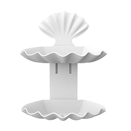 Caja de jabón Doble Jabón Holde ventosa jabón de baño del plato de drenaje Accesorios Caja de almacenamiento de palets Recipiente de plástico libre de perforación Seashell estantería de jabón