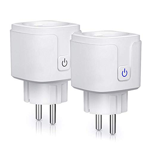 Enchufe inteligente wifi, 16A-3680W Enchufe inalámbrico compatible con Android iOS, Amazon Alexa, Echo, Google Home, IFTTT, Control por Voz, Control remoto, Programable, No se Requiere Hub (2 PCS)