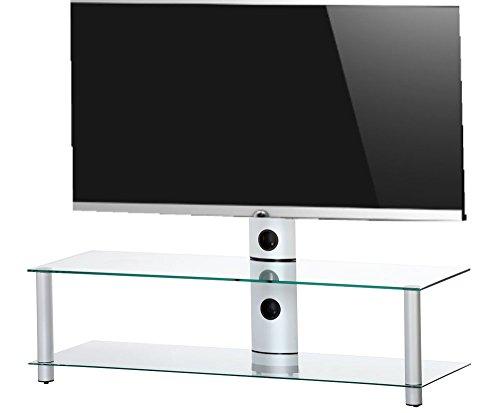 Ro & Co MST-1302 TG - Meuble TV , 2 etages avec support tv en verre transparent et chasis gris. Largeur : 130 cm.