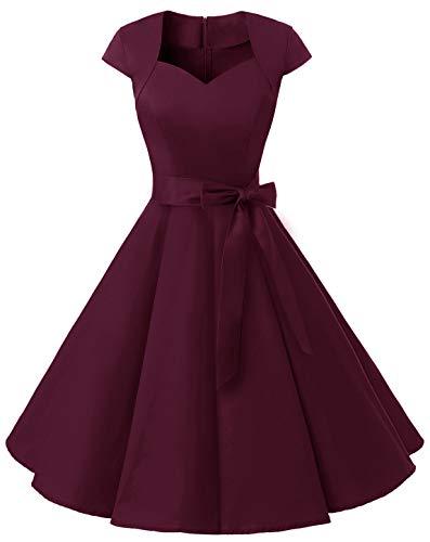 MuaDress 1960 Damen Vintage 50er Rockabilly Retro Kleider Eleganter Faltenrock mit Flügelärmeln Burgundy M