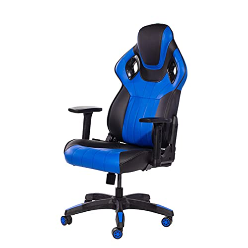 Silla de oficina para videojuegos, silla de oficina con respaldo alto, silla de escritorio, de piel, ergonómica, ajustable, giratoria, con reposacabezas y soporte lumbar, color azul