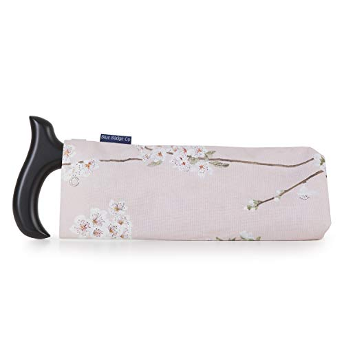 Blue Badge Co Stylische Aufbewahrungstasche aus Stoff für faltbaren Gehstock im Kirschblüten-Design, dezent mit Druckknopfverschluss und D-Ring zum Aufhängen an Rollstuhl oder Handtasche, 40 g