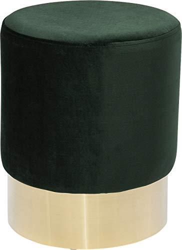 Kare Design Hocker Cherry Dunkelgrün Brass Ø35cm, kleiner, moderner Design Hocker mit Samtbezug, Polsterhocker rund, Grün-Gold (H/B/T) 42x35x35cm