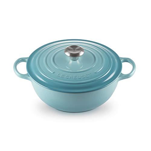 Le Creuset Cacerola Evolution con tapa, diametro 26 cm, La Marmite, Redonda, Todas las fuentes de calor incluso inducción, 4.1 l, Azul Caribe