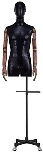 JinSui Maniqui Regulable Costura Maniqui Altura Ajustable Profesional con Brazo de plástico marrón y Base de Rueda Universal para Tienda de Ropa maniquí Masculino