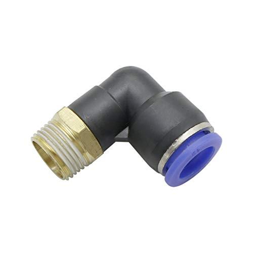 1 UNIDS Aire Conector De Tubería Neumático 10 Mm 8 Mm 6 Mm 4 Mm 12 Mm, Tubo De Manguera OD 1/8'1/4' 3/8'1/2' Hilo Macho Conectores En Forma Conectores De Tubería (Size : 12mm 3I8 Inch)