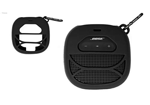 Silicone Cover Skin for Bose SoundLink Micro Portable Outdoor Speaker, by Alltravel, Full 6 Directions Protection, Customized Skin with Color and Shape Matching, Carabiner (Black)