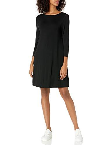 Amazon Essentials Women's Solid 3/4 Sleeve Boatneck Dress, Black, M