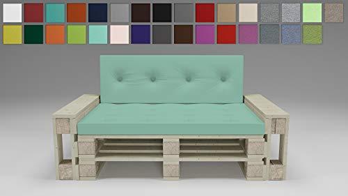 Rollmayer Palettenkissen mit Steppung Auflage für Europaletten Indoor und Outdoor Palettenpolster Kollektion Vivid (Mint 47, Sitz&Rücken Kissen Set)