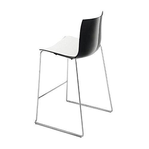 Catifa 46 0474 Barhocker niedrig zweifarbig Chrom, weiß schwarz Außenschale glänzend innen matt Gestell verchromt Sitzhöhe 64cm