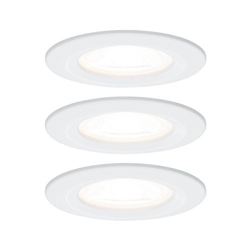 Paulmann Einbauleuchte LED Nova rund 6,5W GU10 Weiß IP44 spritzwassergeschützt 3er-Set starr 3-Stufen-Dimmbar
