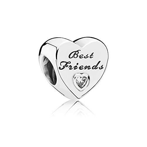 MiniJewelry Abalorio de corazón para pulseras de plata de ley con texto 'Best Friends', compatible con pulseras Pandora, circonita transparente