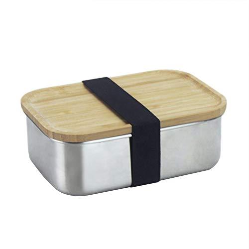 Hearthrousy 304 Edelstahl Holz Deckel Bambus Lunchbox Bento Box Brotdose Brotbüchse Besteck Sushi Box Auslaufsicher Japanischen Stil