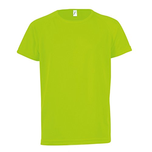 Sols Kinder Unisex T-Shirt Sporty, Kurzarm (6 Jahre (116)) (Neon Grün)