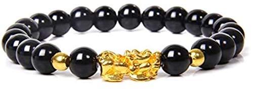 HYJMJJ Haustierpflegekamm Frauen Männer Feng Shui Armband Glück Reichtum Buddha Black Obsidian Stone Perlen Armband Gold Pixiu Armband Geschenke Pet Grooming Tool Demating Camm